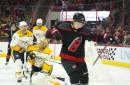 Aho's hat trick leads Canes to Sunday matinee win over Predators