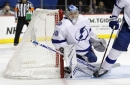 Lightning's Andrei Vasilevskiy subs in during play