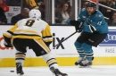 Sharks celebrate Thornton's 1,000th game in teal with a win over Pens