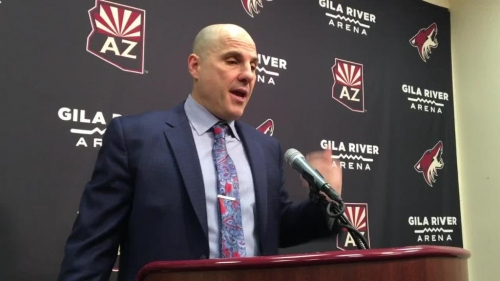 Rick Tocchet praises his players after Coyotes' 6-3 win over Sharks