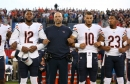 Chicago Bears head coach Matt Nagy stands with players Allen Robinson (12), Mitch Trubisky (10), and Kyle Fuller (23), during the national anthem before the Hall of Fame Game against the Baltimore Ravens at Tom Benson Hall of Fame Stadium in Canton, Ohio,
