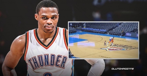 Video: Thunder star Russell Westbrook does early pregame warm-up with son
