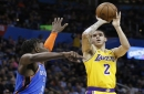 Hot-shooting Lakers stun Thunder in overtime road win