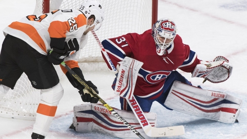 Patrick scores twice, Hart makes 33 saves as Flyers beat Canadiens