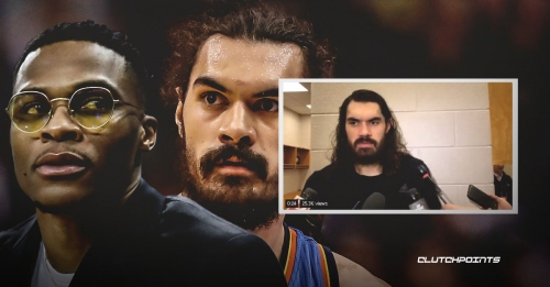 Video: Thunder star Russell Westbrook interrupts Steven Adams' interview with a totally irrelevant question