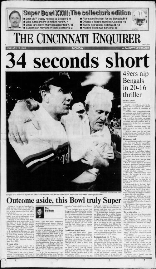 Cincinnati Bengals, San Francisco 49ers met in Super Bowl XXIII 30 years ago