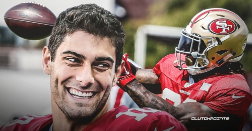 49ers QB Jimmy Garoppolo seen throwing to Jerick McKinnon as they continue recovering from ACL tears