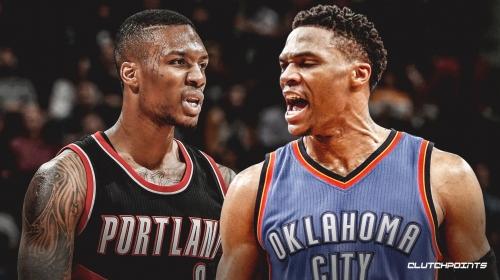 Video: Russell Westbrook, Damian Lillard exchange words during Blazers-Thunder game