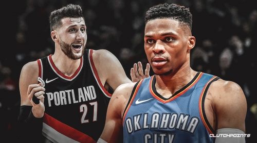 Blazers center Jusuf Nurkic reacts to Thunder star Russell Westbrook calling him a 'clown'