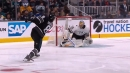 Rinne stops Doughty's slap shot with his head at All-Star Game