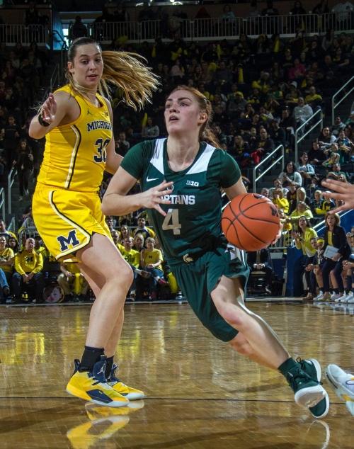 Michigan State women's basketball breaks through road block, gets win at Michigan