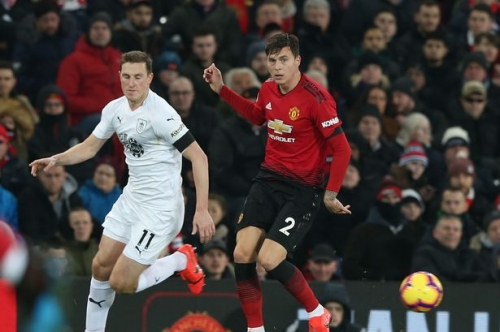 Victor Lindelof reacts to his first Manchester United goal