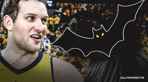 Video: Pacers' Bojan Bogdanovic tries to kick a bat flying inside the arena