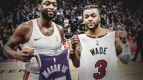 Heat's Dwyane Wade exchanges jerseys with Kings' Frank Mason III