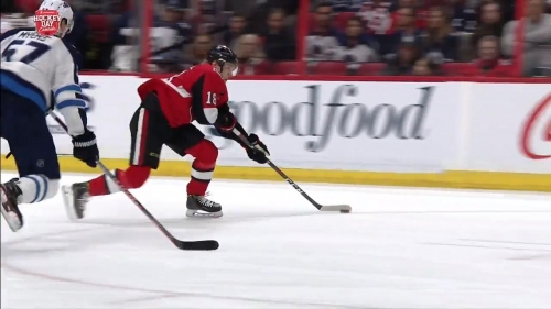Senators' Dzingel snipes shot off the post and in for goal