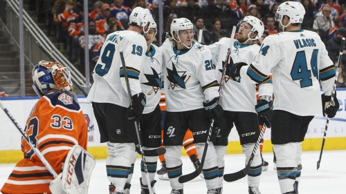 Labanc scores hat trick, Sharks beat Oilers to extend win streak