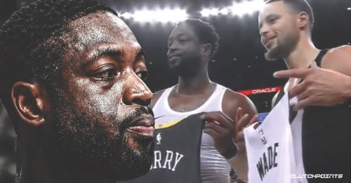 Heat legend Dwyane Wade swaps jerseys with Warriors star Stephen Curry
