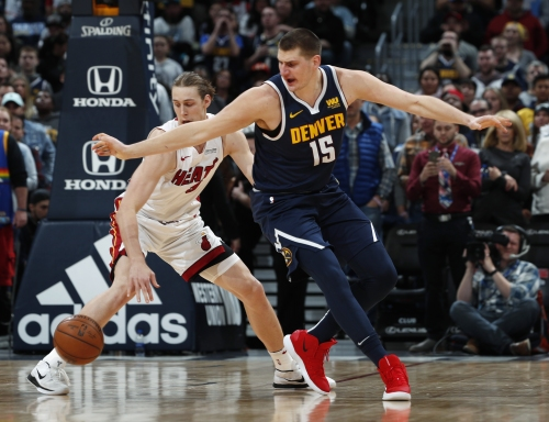 The Nuggets got their groove — and their defense — back in a rout of Miami Heat