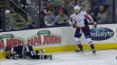 Josh Anderson shaken up after taking big hit from Tom Wilson