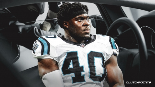 Panthers FB Alex Amrah uses arm bar technique to subdue man trying to break into his car