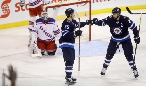 Mark Scheifele pots pair in Jets' back-and-forth win over Rangers