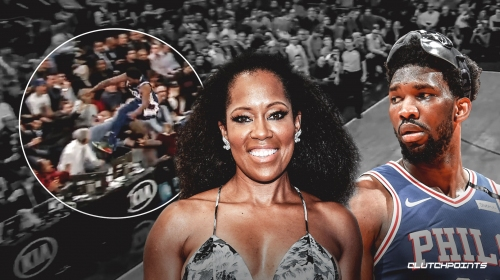Video: Sixers star Joel Embiid nearly takes out actress Regina King after flying into the stands at MSG
