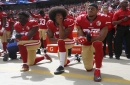 From left, The San Francisco 49ers' Eli Harold (58), Colin Kaepernick (7) and Eric Reid (35) kneel during the national anthem before their a game against the Dallas Cowboys on October 2, 2016, at Levi's Stadium in Santa Clara, Calif.