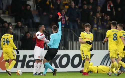 Alexandre Lacazette speaks out after red card in Arsenal's defeat to BATE Borisov
