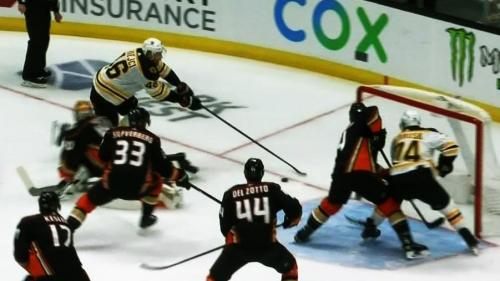 Krejci deke turns Ducks goalie into Swiss cheese for Bruins goal