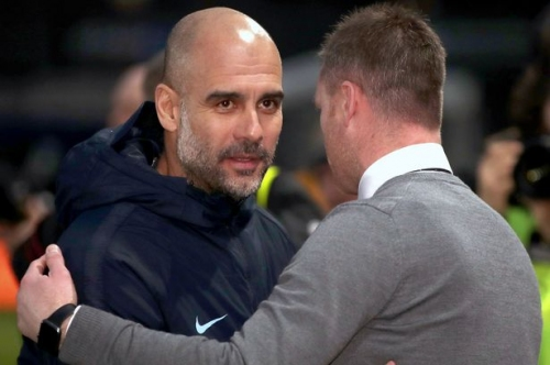 Newport County manager Mike Flynn's brilliant reaction when he met Man City boss Pep Guardiola