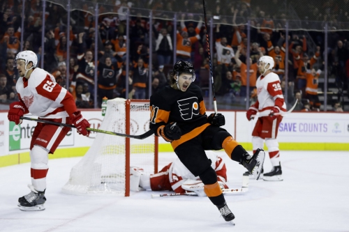 Konecny's OT goal lifts Flyers past Red Wings