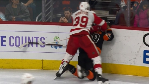 Mantha slams Giroux's head into boards from behind