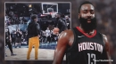 Rockets' James Harden teaches Heat star Dwyane Wade's son, Zaire, his signature move