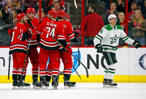 Stars fail to overcome a pair of first-period goals in shutout loss to Carolina