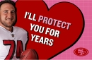 Frank Gore backs up Joe Staley's valentine in the literal sense