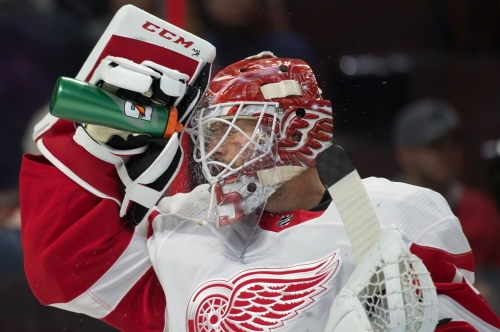 Detroit Red Wings' Jonathan Bernier (upper-body injury) exits vs. Flyers