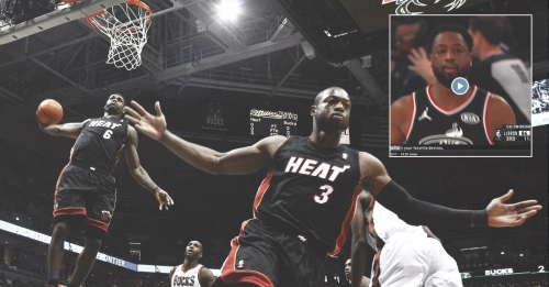 Video: LeBron James throws alley-oop pass to ex-Heat teammate Dwyane Wade