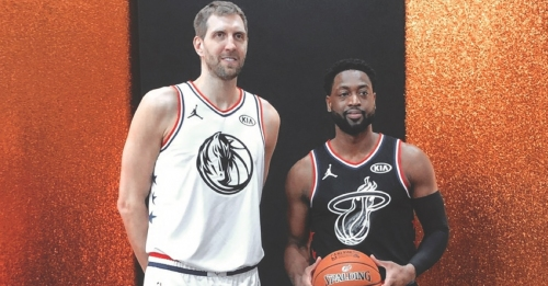 Dwyane Wade and Dirk Nowitzki get commemorative jerseys from Team Giannis and Team LeBron