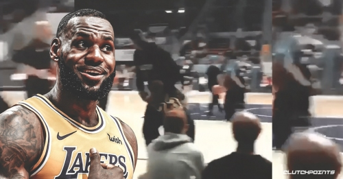 Video: Lakers' LeBron James almost ran over a kid wearing his shirt