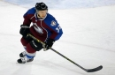 Andrew Agozzino, the Colorado Eagles' leading scorer, gets his shot with the Avalanche
