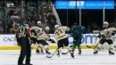 Bruins' Zdeno Chara blasts rolling puck past Sharks' Martin Jones