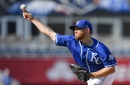 Kansas City Royals starting pitcher Ian Kennedy throws a simulated game on August 24, 2018, at Kauffman Stadium in Kansas City, Mo.