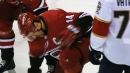 Hurricanes' Justin Williams scores after puck deflects off his face