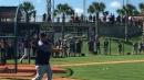New York Yankees' Miguel Andujar taking batting practice