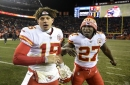 Kansas City Chiefs quarterback Patrick Mahomes (15) is congratulated by running back Kareem Hunt (27) after the Chiefs' 27-24 win against the Denver Broncos on Sunday, Dec. 31, 2017, at Sports Authority Field in Denver, Colo.