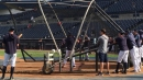 Yankees catcher Gary Sanchez takes BP before his first spring training game of 2019