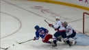 Rangers' Chytil makes an unreal no look, backhand assist while falling down