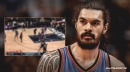 Video: Thunder's Steven Adams stuffs nosebleed with tissue and continues to play