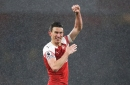 Laurent Koscielny played final part of victory over Manchester United with nasty gash on leg