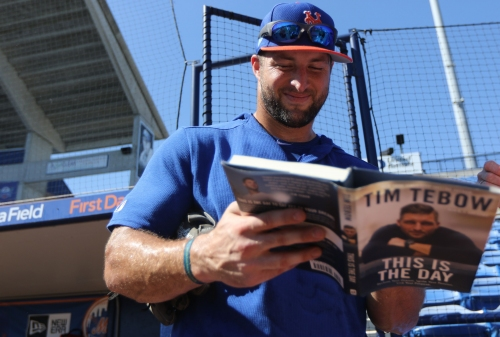 Tim Tebow batted .267 in camp, and will begin season one step away from majors